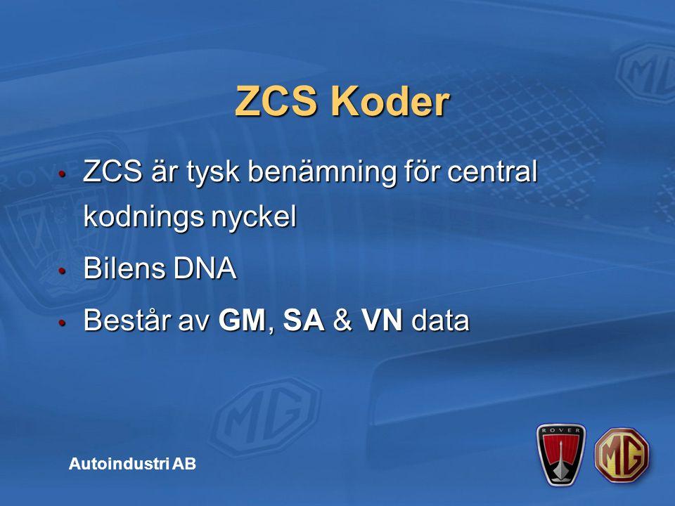 ZCS är tysk benämning för central kodnings nyckel ZCS är tysk benämning för central kodnings nyckel Bilens DNA Bilens DNA Består av GM, SA & VN data Består av GM, SA & VN data ZCS Koder Autoindustri AB