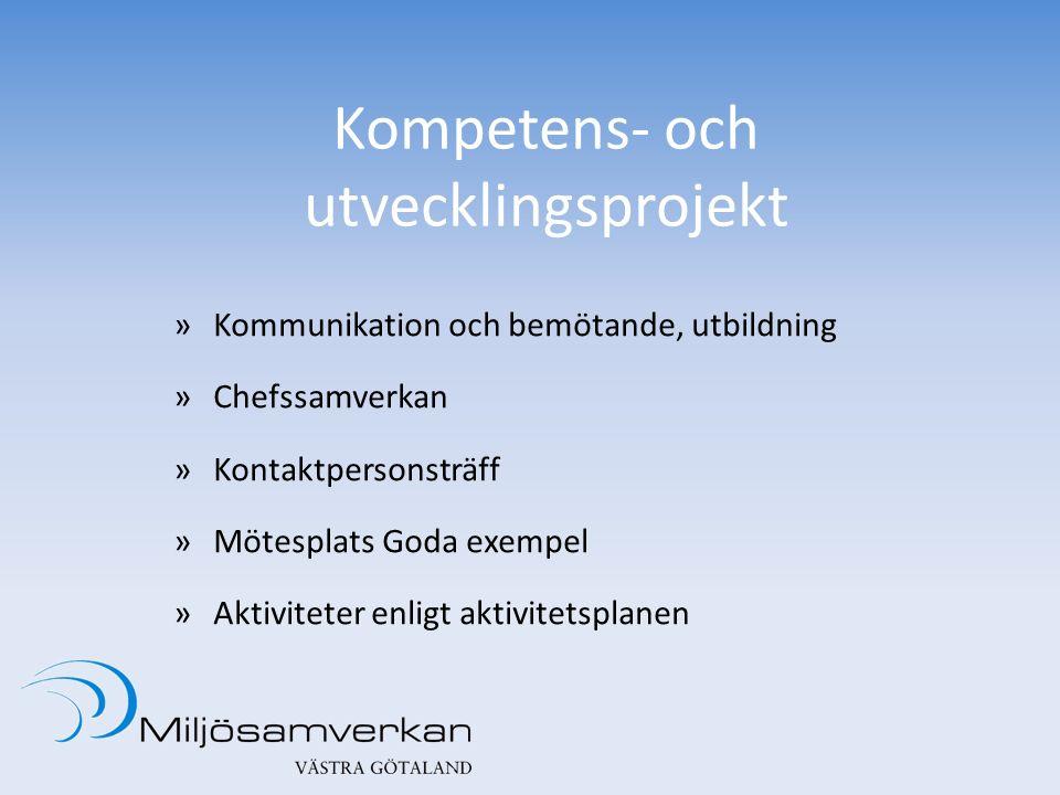 Kompetens- och utvecklingsprojekt »Kommunikation och bemötande, utbildning »Chefssamverkan »Kontaktpersonsträff »Mötesplats Goda exempel »Aktiviteter enligt aktivitetsplanen