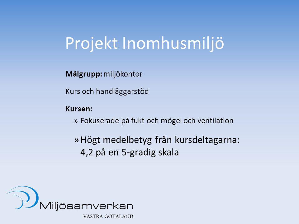 Projekt Inomhusmiljö Målgrupp: miljökontor Kurs och handläggarstöd Kursen: »Fokuserade på fukt och mögel och ventilation »Högt medelbetyg från kursdeltagarna: 4,2 på en 5-gradig skala