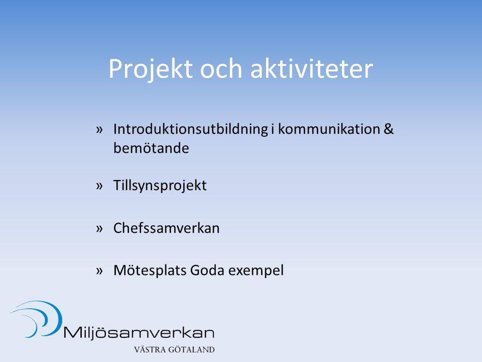 Projekt och aktiviteter »Introduktionsutbildning i kommunikation & bemötande »Tillsynsprojekt »Chefssamverkan »Mötesplats Goda exempel