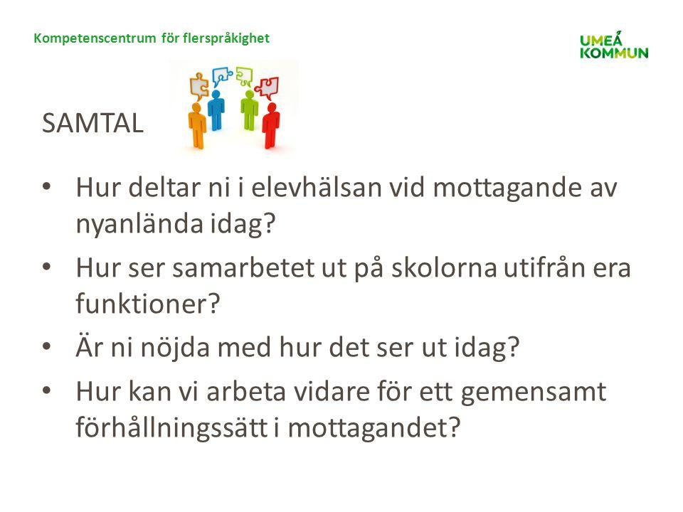 Kompetenscentrum för flerspråkighet SAMTAL Hur deltar ni i elevhälsan vid mottagande av nyanlända idag.