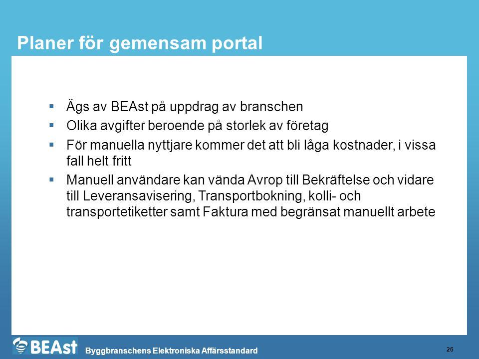 Byggbranschens Elektroniska Affärsstandard Planer för gemensam portal 26  Ägs av BEAst på uppdrag av branschen  Olika avgifter beroende på storlek a