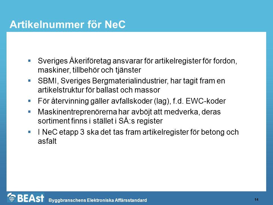 Byggbranschens Elektroniska Affärsstandard Artikelnummer för NeC 14  Sveriges Åkeriföretag ansvarar för artikelregister för fordon, maskiner, tillbeh
