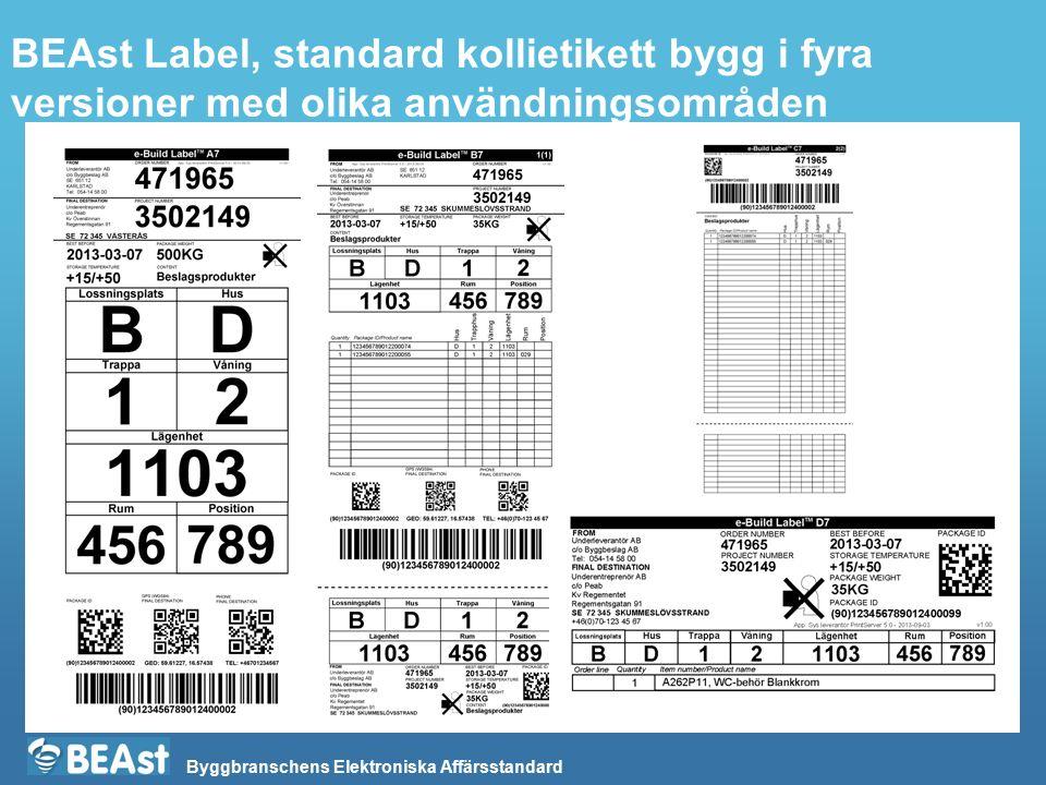 Byggbranschens Elektroniska Affärsstandard BEAst Label, standard kollietikett bygg i fyra versioner med olika användningsområden