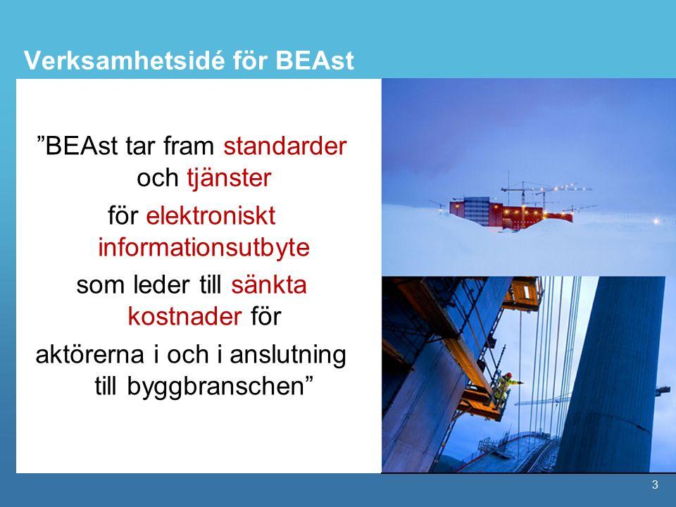 """3 Verksamhetsidé för BEAst """"BEAst tar fram standarder och tjänster för elektroniskt informationsutbyte som leder till sänkta kostnader för aktörerna i"""