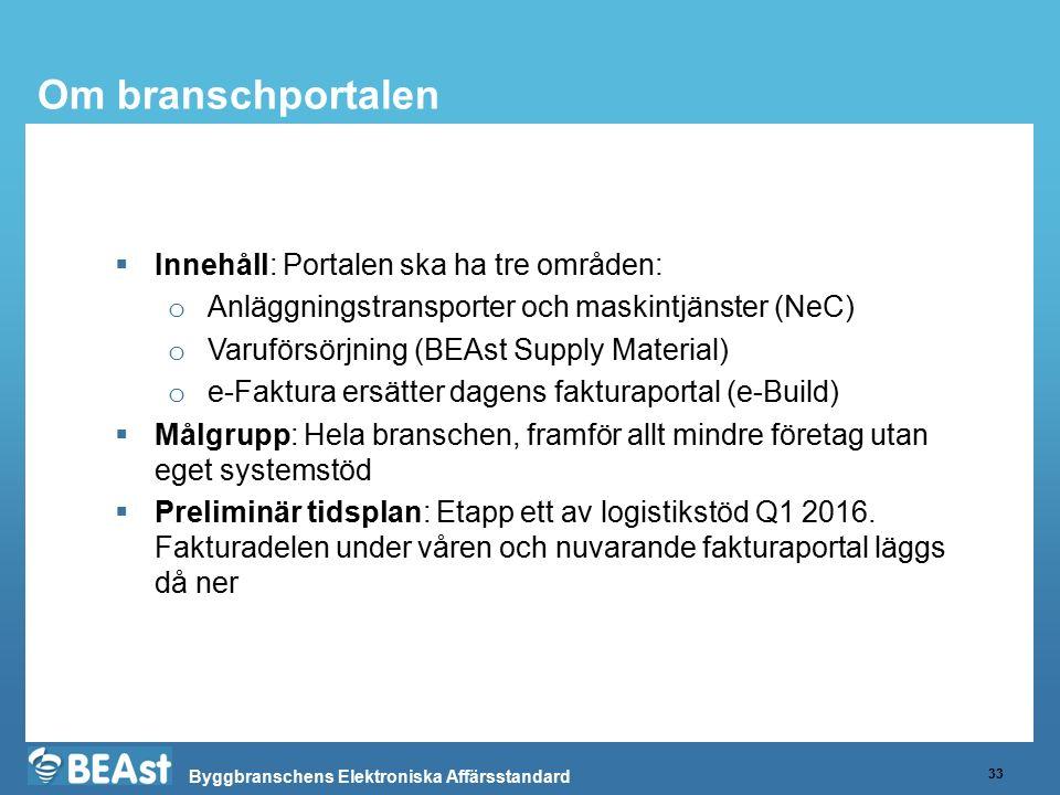Byggbranschens Elektroniska Affärsstandard Om branschportalen 33  Innehåll: Portalen ska ha tre områden: o Anläggningstransporter och maskintjänster