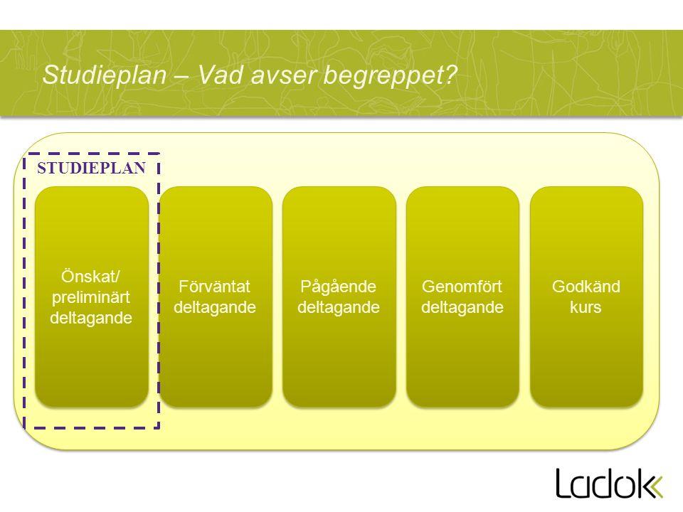 Studieplan – Vad avser begreppet? Önskat/ preliminärt deltagande Önskat/ preliminärt deltagande Förväntat deltagande Pågående deltagande Genomfört del