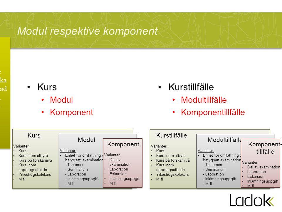 Modul respektive komponent Kurs Modul Komponent Kurstillfälle Modultillfälle Komponentillfälle Kurs Varianter: Kurs Kurs inom utbyte Kurs på forskarni
