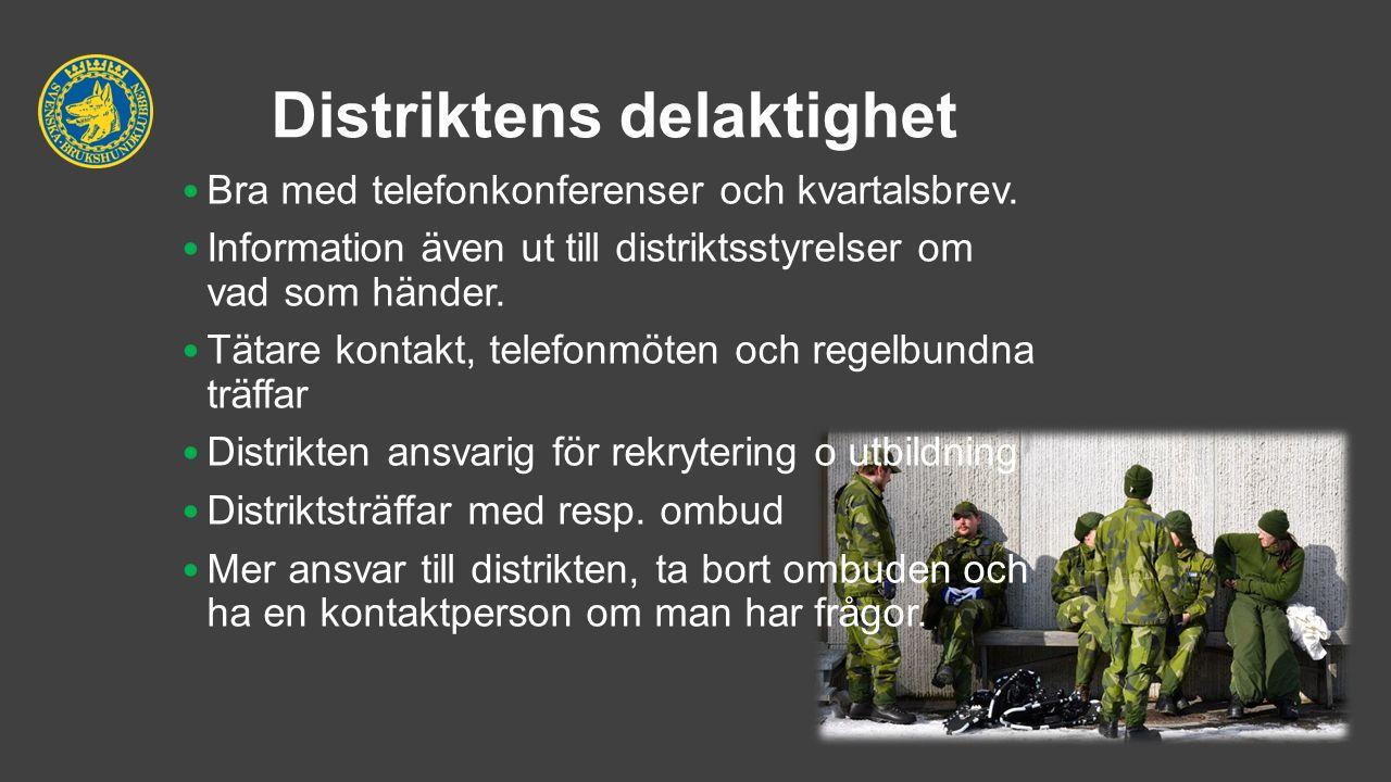 Distriktens delaktighet Bra med telefonkonferenser och kvartalsbrev. Information även ut till distriktsstyrelser om vad som händer. Tätare kontakt, te