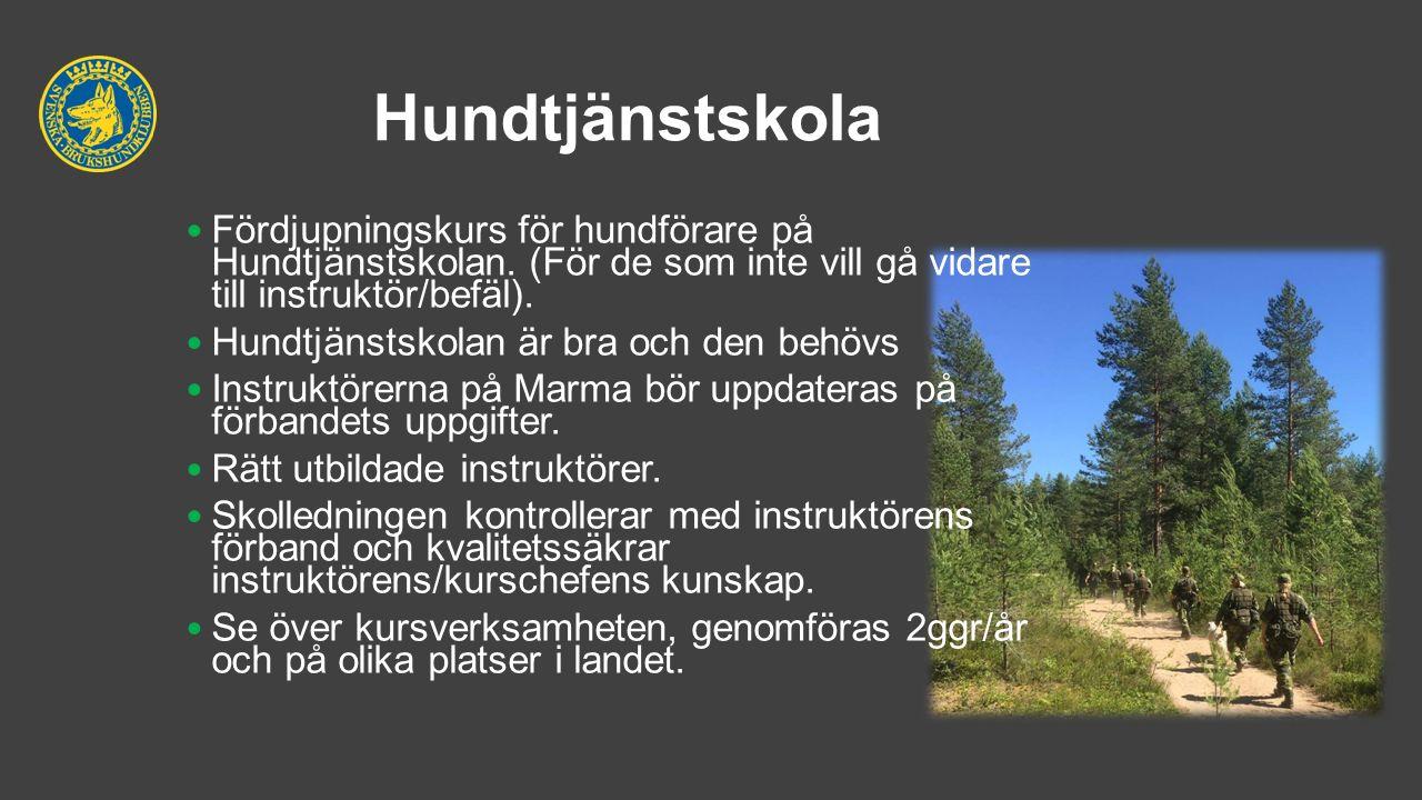 Hundtjänstskola Fördjupningskurs för hundförare på Hundtjänstskolan.