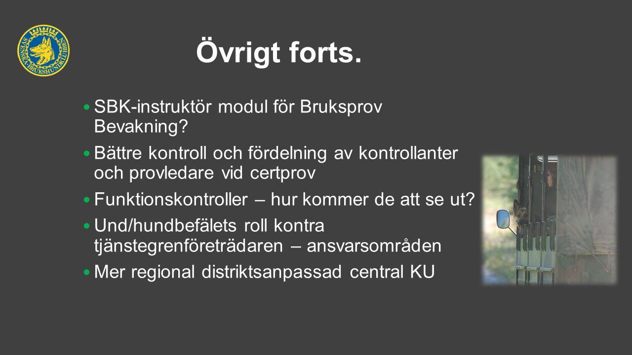 Övrigt forts. SBK-instruktör modul för Bruksprov Bevakning.