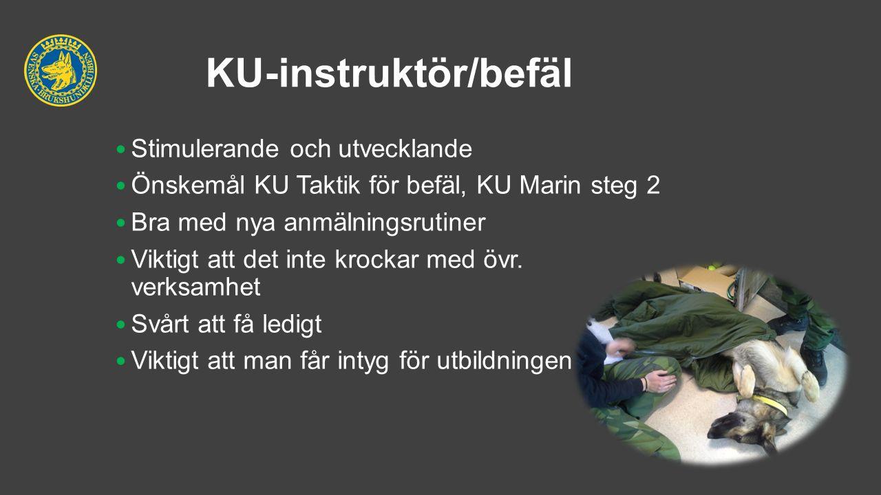 KU-instruktör/befäl Stimulerande och utvecklande Önskemål KU Taktik för befäl, KU Marin steg 2 Bra med nya anmälningsrutiner Viktigt att det inte kroc