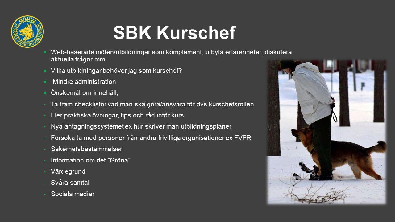 SBK Kurschef Web-baserade möten/utbildningar som komplement, utbyta erfarenheter, diskutera aktuella frågor mm Vilka utbildningar behöver jag som kurschef.