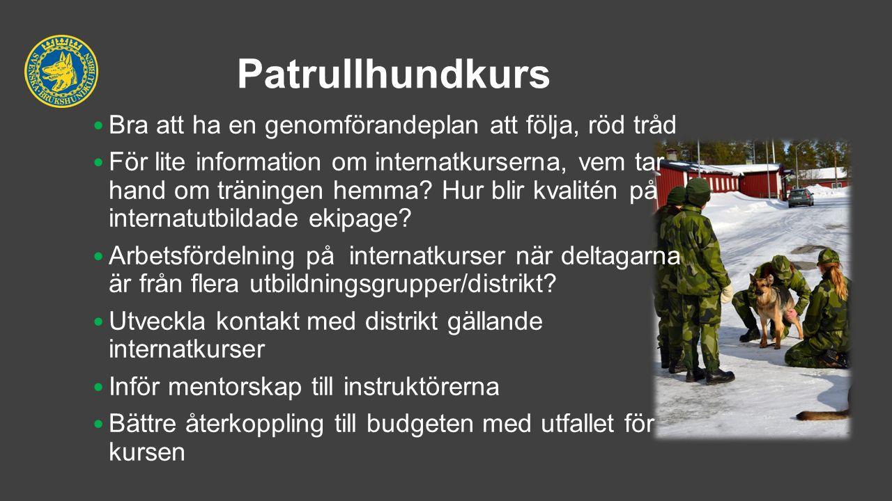 Patrullhundkurs Bra att ha en genomförandeplan att följa, röd tråd För lite information om internatkurserna, vem tar hand om träningen hemma? Hur blir