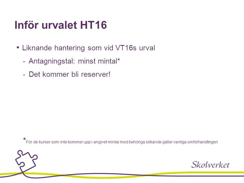Inför urvalet HT16 Liknande hantering som vid VT16s urval  Antagningstal: minst mintal*  Det kommer bli reserver.