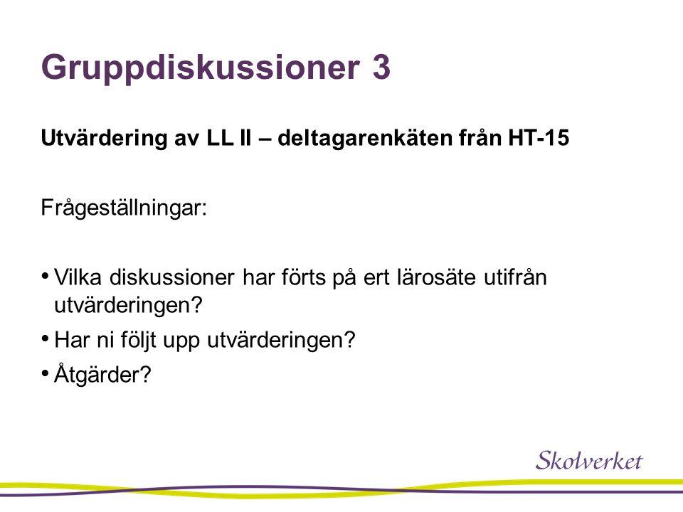 Gruppdiskussioner 3 Utvärdering av LL II – deltagarenkäten från HT-15 Frågeställningar: Vilka diskussioner har förts på ert lärosäte utifrån utvärderingen.