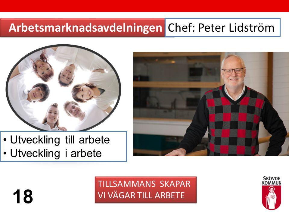 Arbetsmarknadsavdelningen TILLSAMMANS SKAPAR VI VÄGAR TILL ARBETE TILLSAMMANS SKAPAR VI VÄGAR TILL ARBETE Chef: Peter Lidström 18 Utveckling till arbete Utveckling i arbete