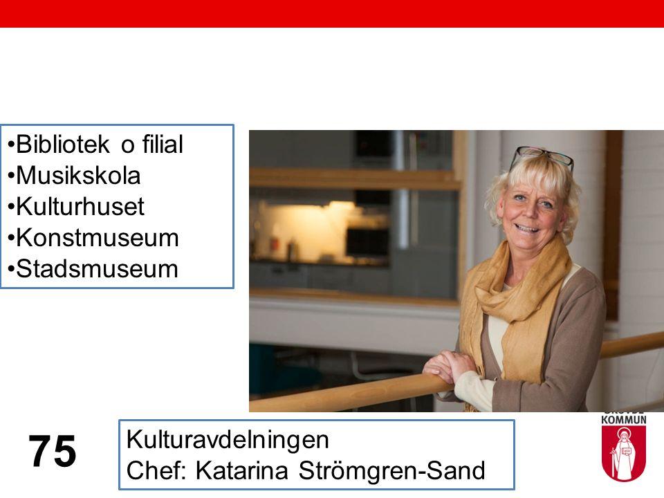Kulturavdelningen Chef: Katarina Strömgren-Sand 75 Bibliotek o filial Musikskola Kulturhuset Konstmuseum Stadsmuseum