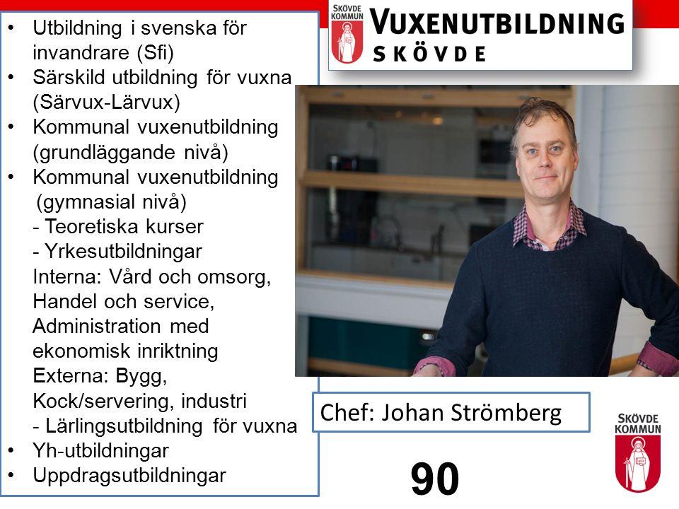 Utbildning i svenska för invandrare (Sfi) Särskild utbildning för vuxna (Särvux-Lärvux) Kommunal vuxenutbildning (grundläggande nivå) Kommunal vuxenut