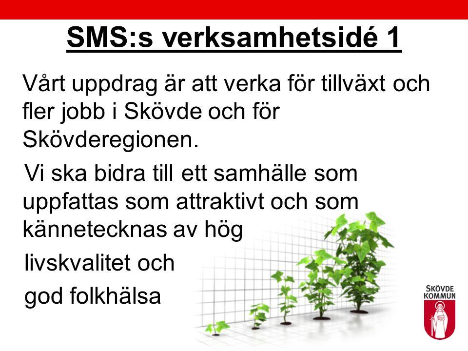 SMS:s verksamhetsidé 1 Vårt uppdrag är att verka för tillväxt och fler jobb i Skövde och för Skövderegionen. Vi ska bidra till ett samhälle som uppfat