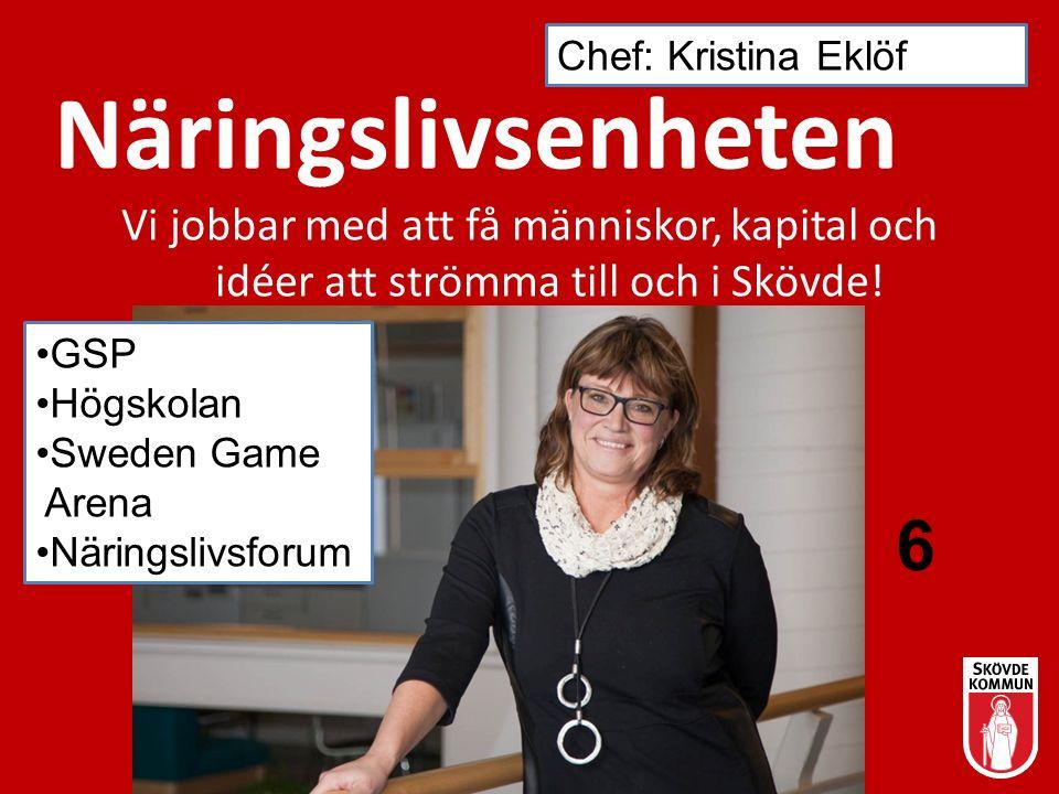 Näringslivsenheten Vi jobbar med att få människor, kapital och idéer att strömma till och i Skövde! Chef: Kristina Eklöf 6 GSP Högskolan Sweden Game A