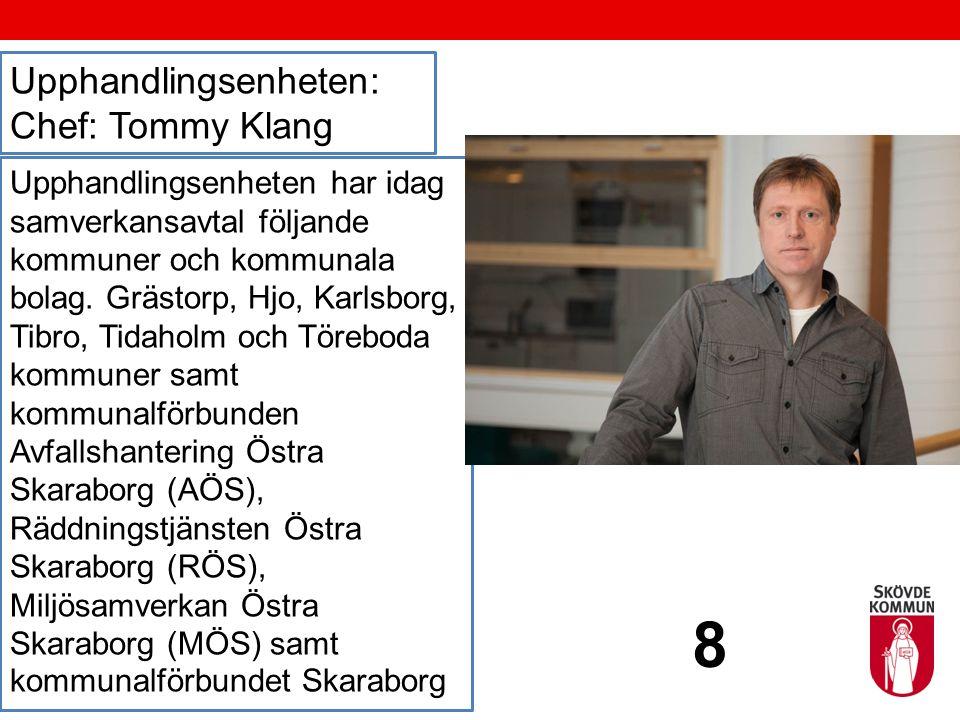 Upphandlingsenheten: Chef: Tommy Klang Upphandlingsenheten har idag samverkansavtal följande kommuner och kommunala bolag. Grästorp, Hjo, Karlsborg, T