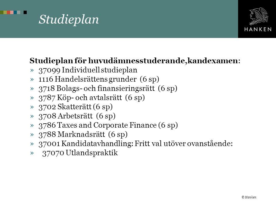 Studieplan Studieplan för huvudämnesstuderande,kandexamen: »37099 Individuell studieplan »1116 Handelsrättens grunder (6 sp) »3718 Bolags- och finansieringsrätt (6 sp) »3787 Köp- och avtalsrätt (6 sp) »3702 Skatterätt (6 sp) »3708 Arbetsrätt (6 sp) »3786 Taxes and Corporate Finance (6 sp) »3788 Marknadsrätt (6 sp) »37001 Kandidatavhandling: Fritt val utöver ovanstående: » 37070 Utlandspraktik © Hanken