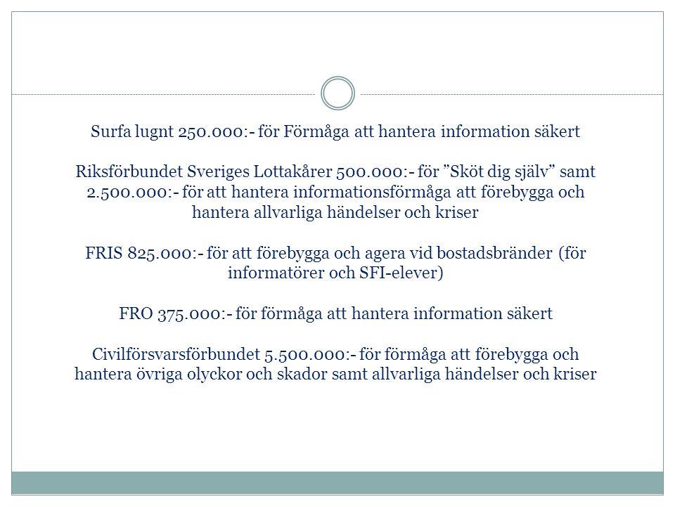 Surfa lugnt 250.000:- för Förmåga att hantera information säkert Riksförbundet Sveriges Lottakårer 500.000:- för Sköt dig själv samt 2.500.000:- för att hantera informationsförmåga att förebygga och hantera allvarliga händelser och kriser FRIS 825.000:- för att förebygga och agera vid bostadsbränder (för informatörer och SFI-elever) FRO 375.000:- för förmåga att hantera information säkert Civilförsvarsförbundet 5.500.000:- för förmåga att förebygga och hantera övriga olyckor och skador samt allvarliga händelser och kriser
