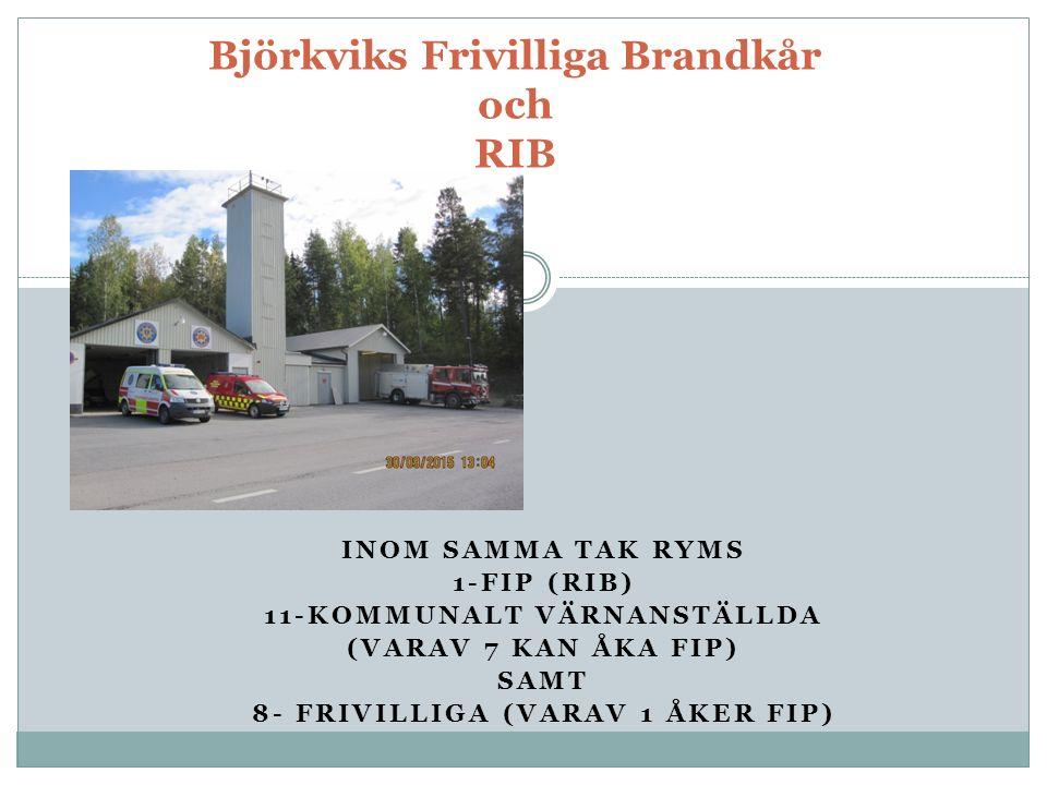 INOM SAMMA TAK RYMS 1-FIP (RIB) 11-KOMMUNALT VÄRNANSTÄLLDA (VARAV 7 KAN ÅKA FIP) SAMT 8- FRIVILLIGA (VARAV 1 ÅKER FIP) Björkviks Frivilliga Brandkår och RIB