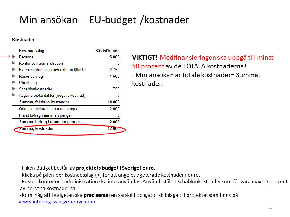Min ansökan – EU-budget /kostnader - Fliken Budget består av projektets budget i Sverige i euro. - Klicka på pilen per kostnadsslag (>) för att ange b