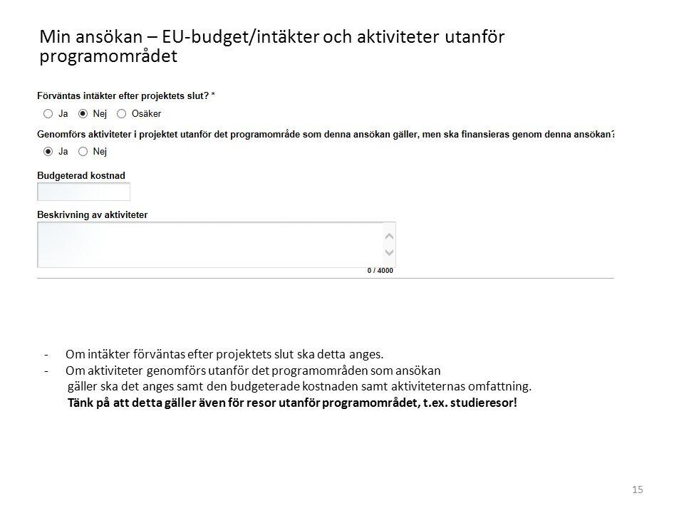 Min ansökan – EU-budget/intäkter och aktiviteter utanför programområdet 15 -Om intäkter förväntas efter projektets slut ska detta anges. -Om aktivitet