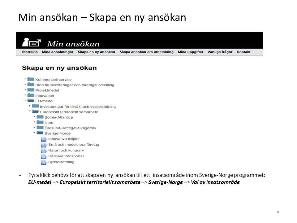 Min ansökan – Skapa en ny ansökan -Fyra klick behövs för att skapa en ny ansökan till ett insatsområde inom Sverige-Norge programmet: EU-medel –> Europeiskt territoriellt samarbete –> Sverige-Norge –> Val av insatsområde 5