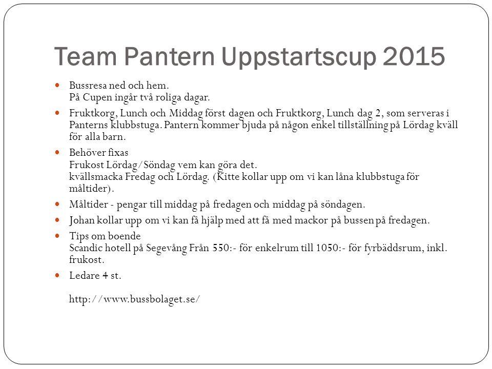 Team Pantern Uppstartscup 2015 Bussresa ned och hem.