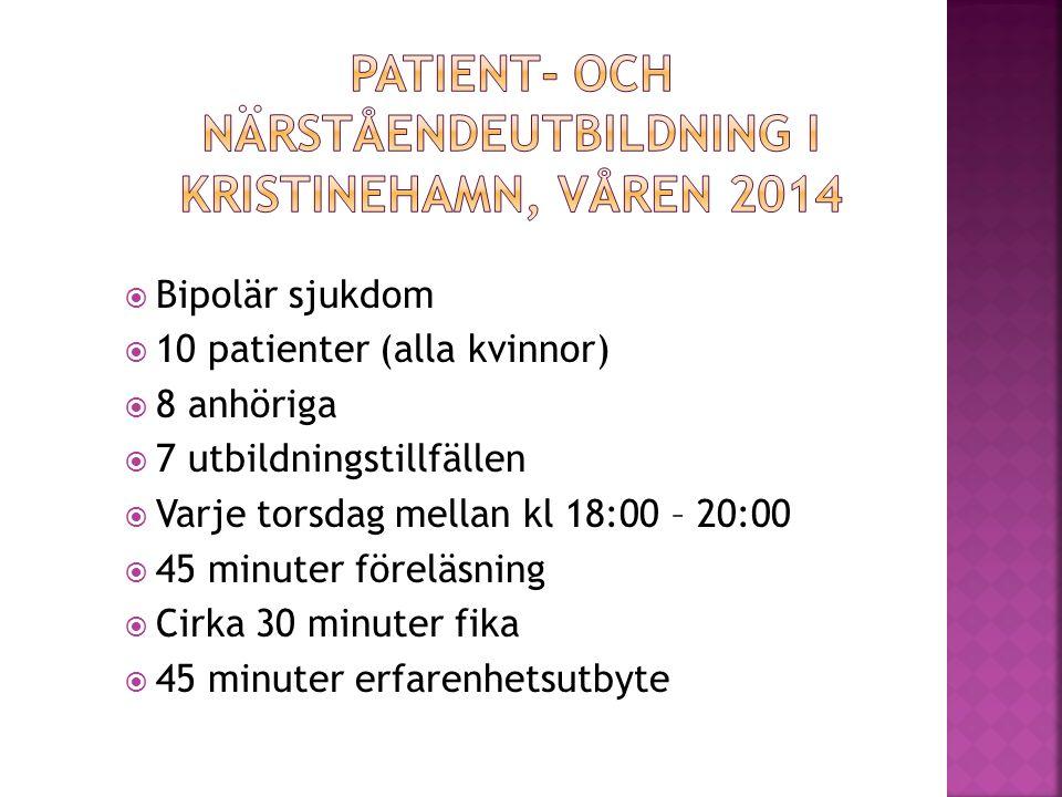  Bipolär sjukdom  10 patienter (alla kvinnor)  8 anhöriga  7 utbildningstillfällen  Varje torsdag mellan kl 18:00 – 20:00  45 minuter föreläsning  Cirka 30 minuter fika  45 minuter erfarenhetsutbyte