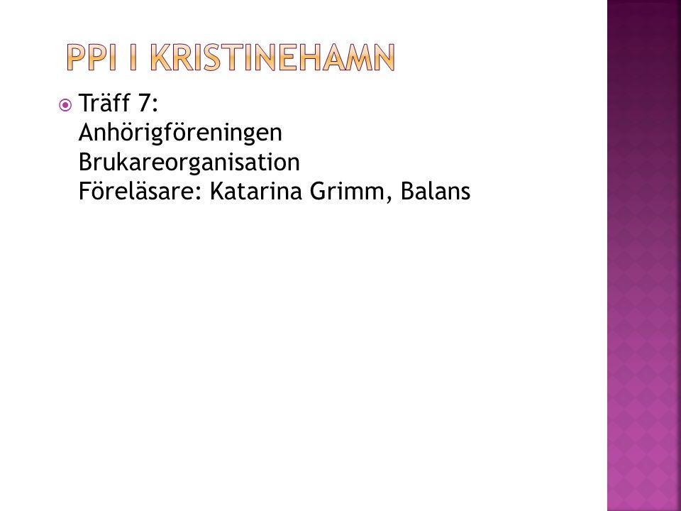  Träff 7: Anhörigföreningen Brukareorganisation Föreläsare: Katarina Grimm, Balans