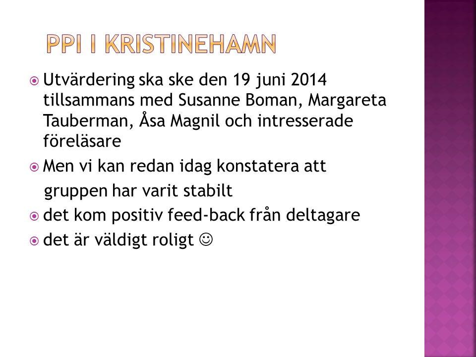  Utvärdering ska ske den 19 juni 2014 tillsammans med Susanne Boman, Margareta Tauberman, Åsa Magnil och intresserade föreläsare  Men vi kan redan idag konstatera att gruppen har varit stabilt  det kom positiv feed-back från deltagare  det är väldigt roligt