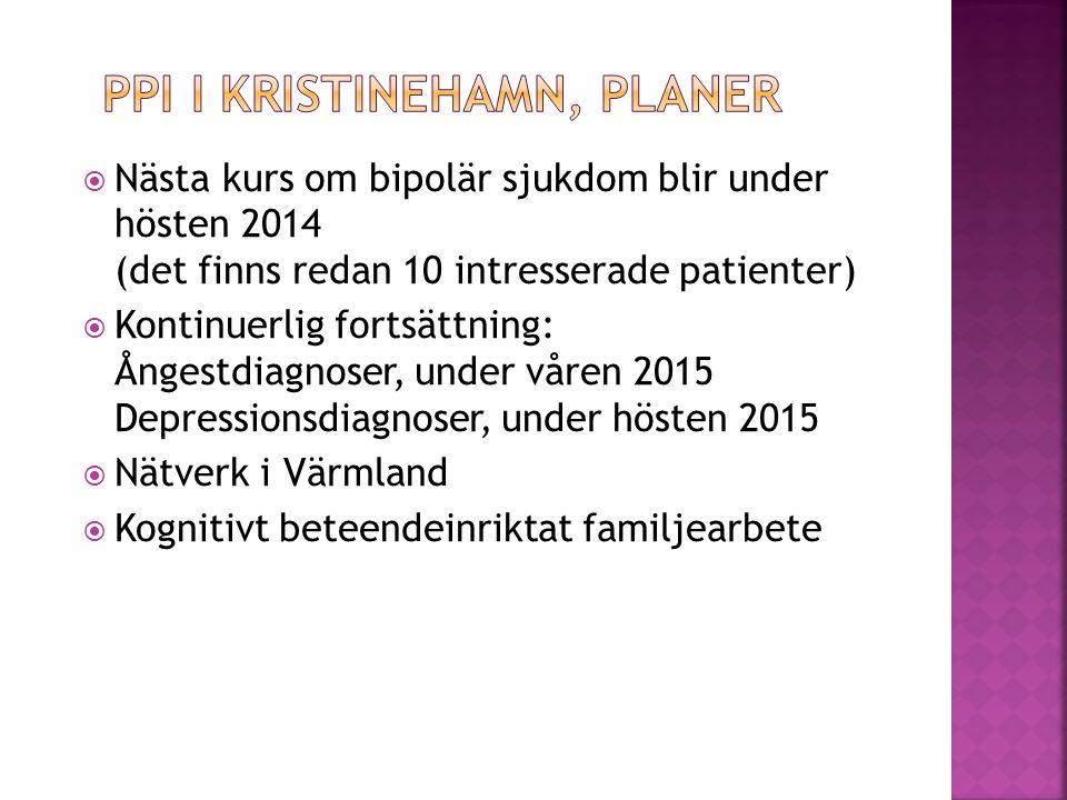  Nästa kurs om bipolär sjukdom blir under hösten 2014 (det finns redan 10 intresserade patienter)  Kontinuerlig fortsättning: Ångestdiagnoser, under