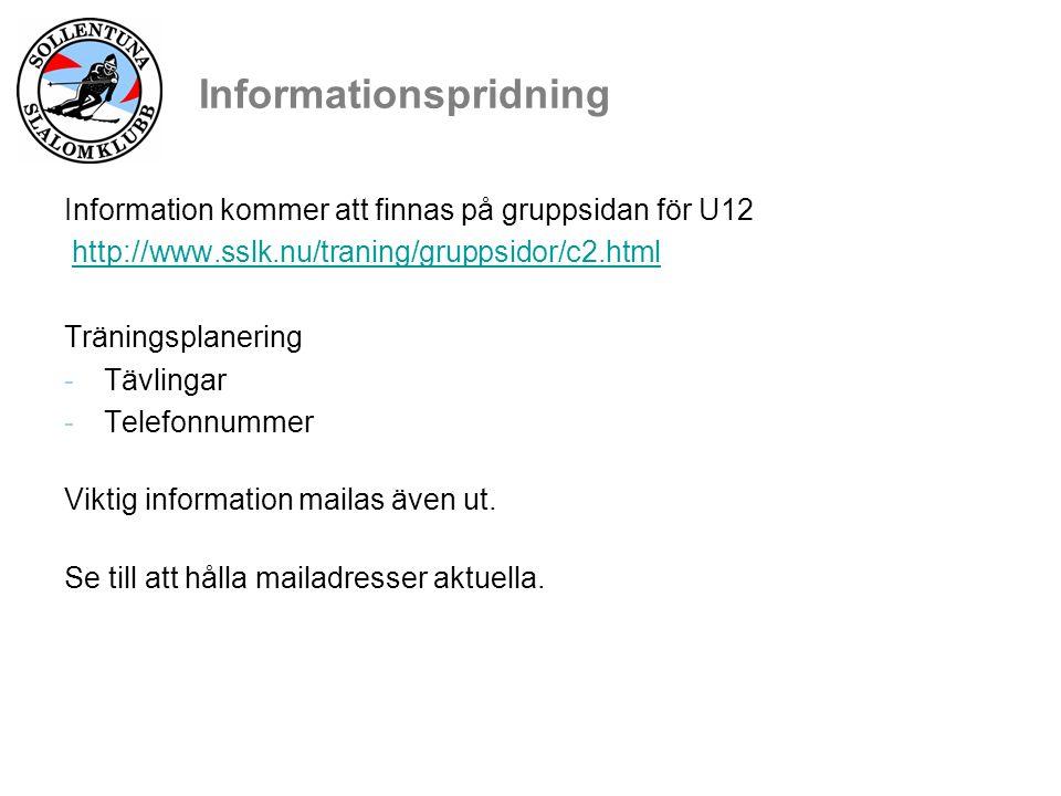 Informationspridning Information kommer att finnas på gruppsidan för U12 http://www.sslk.nu/traning/gruppsidor/c2.html Träningsplanering -Tävlingar -Telefonnummer Viktig information mailas även ut.