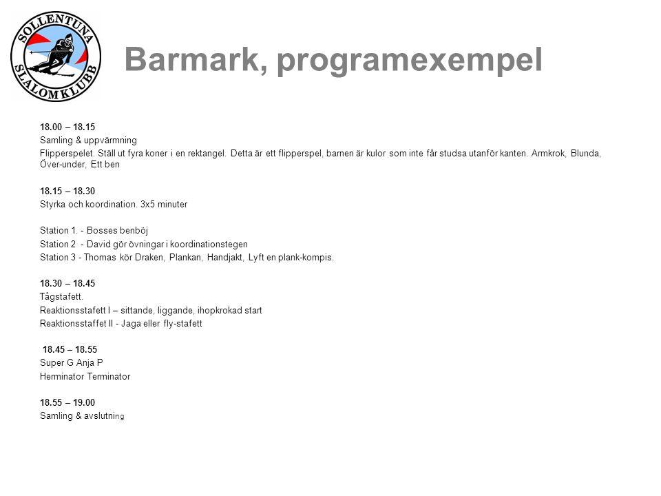 Barmark, programexempel 18.00 – 18.15 Samling & uppvärmning Flipperspelet.