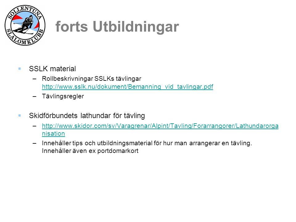 forts Utbildningar  SSLK material –Rollbeskrivningar SSLKs tävlingar http://www.sslk.nu/dokument/Bemanning_vid_tavlingar.pdf http://www.sslk.nu/dokument/Bemanning_vid_tavlingar.pdf –Tävlingsregler  Skidförbundets lathundar för tävling –http://www.skidor.com/sv/Varagrenar/Alpint/Tavling/Forarrangorer/Lathundarorga nisationhttp://www.skidor.com/sv/Varagrenar/Alpint/Tavling/Forarrangorer/Lathundarorga nisation –Innehåller tips och utbildningsmaterial för hur man arrangerar en tävling.