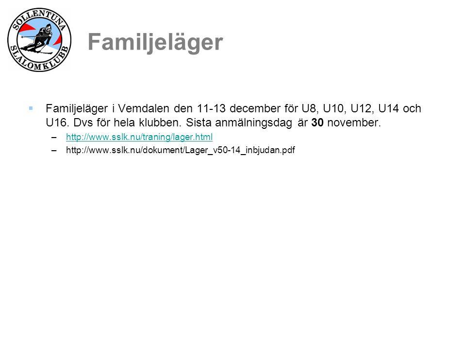  Familjeläger i Vemdalen den 11-13 december för U8, U10, U12, U14 och U16.