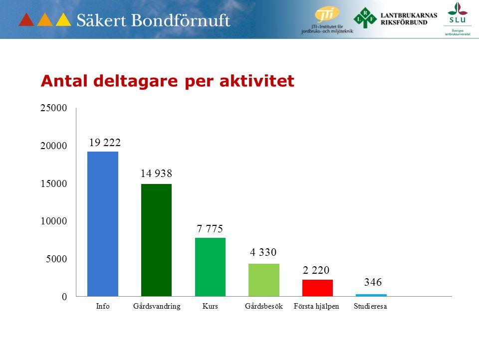 Antal deltagare per aktivitet