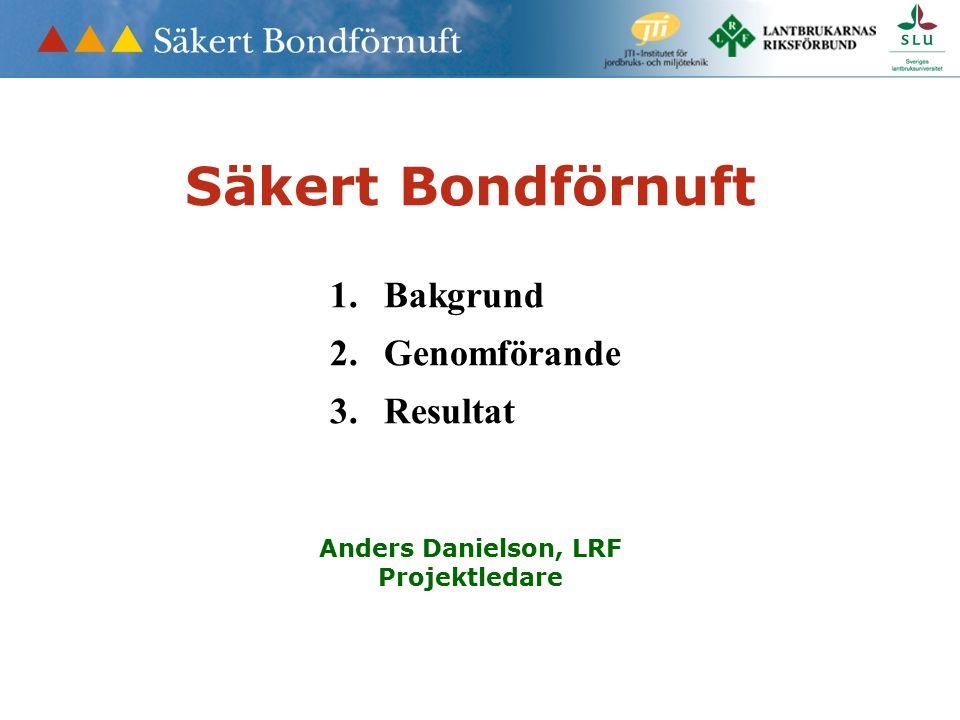 Säkert Bondförnuft 1.Bakgrund 2.Genomförande 3.Resultat Anders Danielson, LRF Projektledare