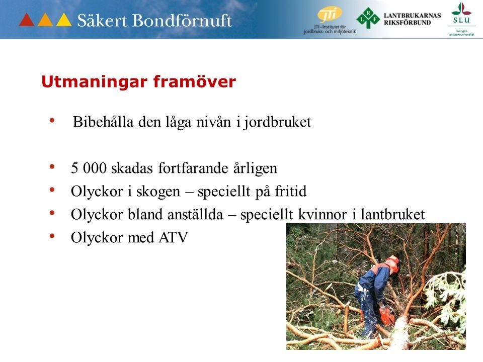 Bibehålla den låga nivån i jordbruket 5 000 skadas fortfarande årligen Olyckor i skogen – speciellt på fritid Olyckor bland anställda – speciellt kvinnor i lantbruket Olyckor med ATV Utmaningar framöver