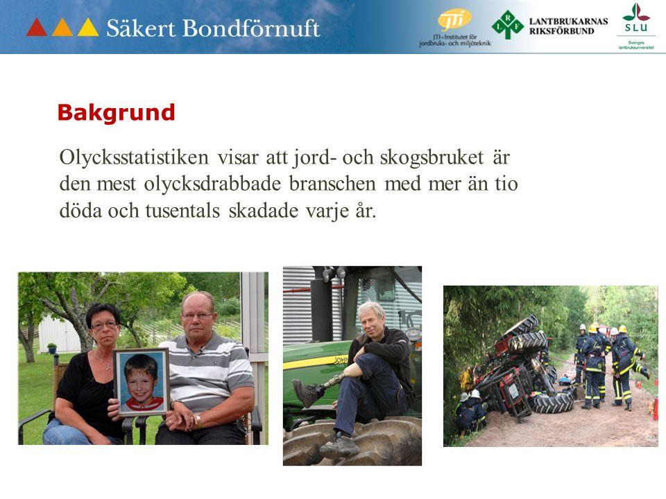 Anmälda olyckor till Arbetsmiljöverket Jord och skogsbruk egenföretagare Arbetsmiljöverket ÅrJordSkogTotal 20048519104 200512719146 200610519124 2007692291 2008681684 2009511162 2010481462 201150757 2012511162 110 61 - 45%