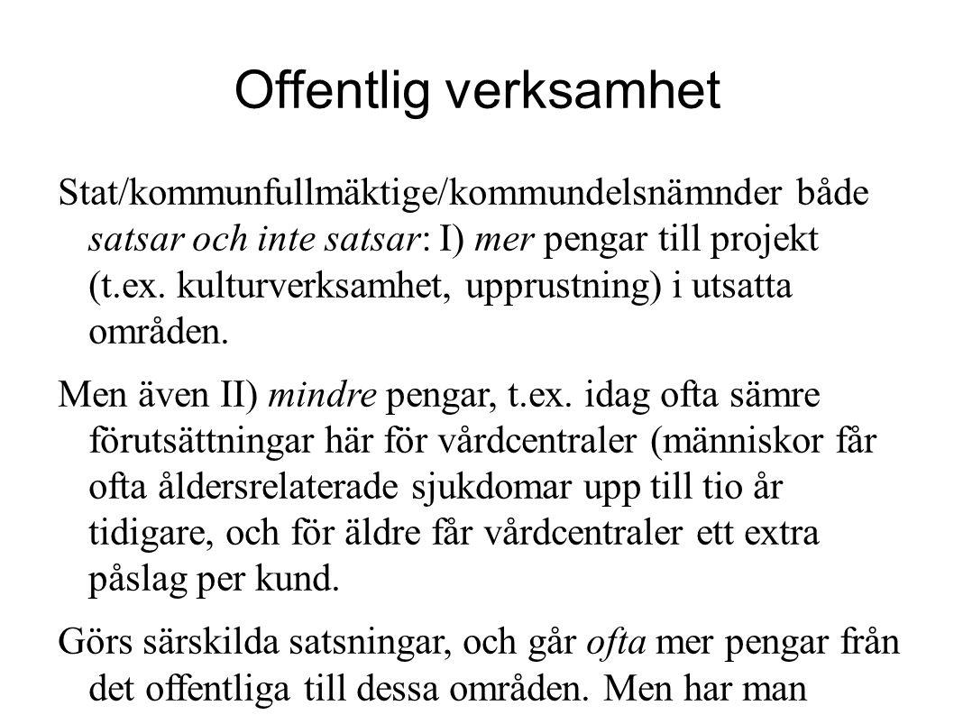 Offentlig verksamhet Stat/kommunfullmäktige/kommundelsnämnder både satsar och inte satsar: I) mer pengar till projekt (t.ex. kulturverksamhet, upprust