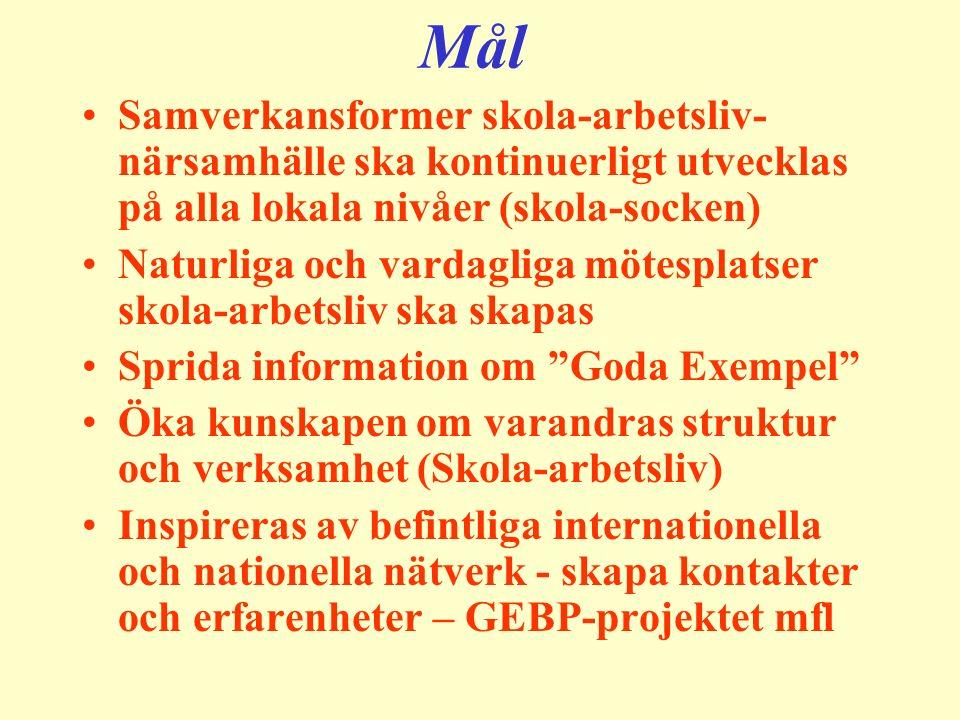 Mål Samverkansformer skola-arbetsliv- närsamhälle ska kontinuerligt utvecklas på alla lokala nivåer (skola-socken) Naturliga och vardagliga mötesplats