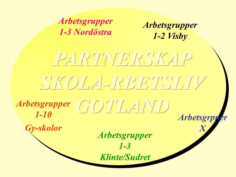 Arbetsgrupper 1-10 Gy-skolor Arbetsgrpper X Arbetsgrupper 1-2 Visby Arbetsgrupper 1-3 Nordöstra Arbetsgrupper 1-3 Klinte/Sudret
