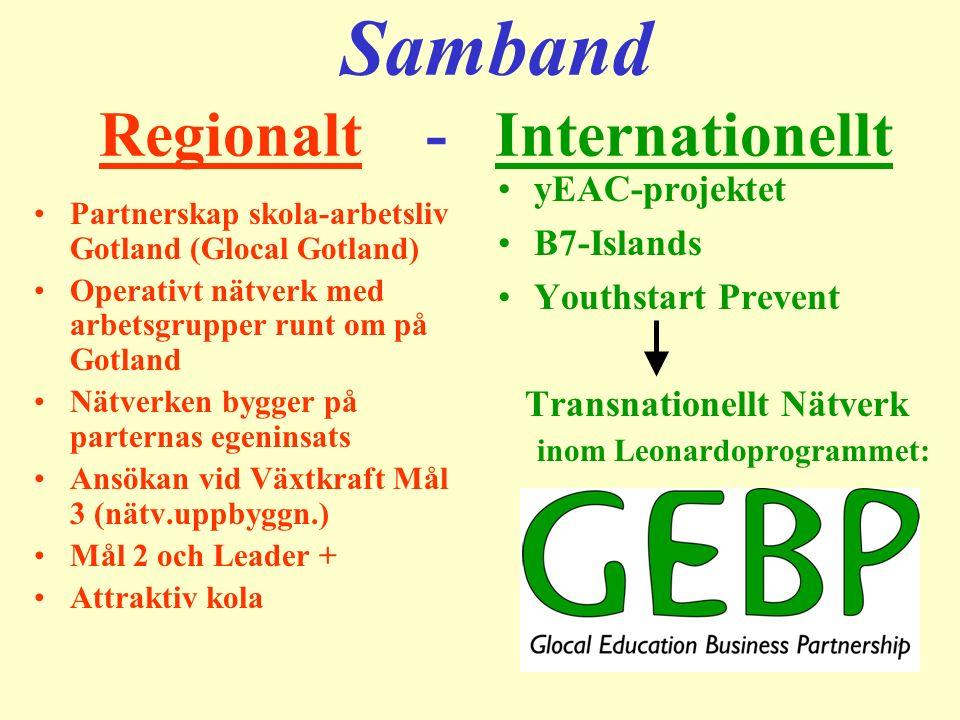 Samband Regionalt - Internationellt Partnerskap skola-arbetsliv Gotland (Glocal Gotland) Operativt nätverk med arbetsgrupper runt om på Gotland Nätver