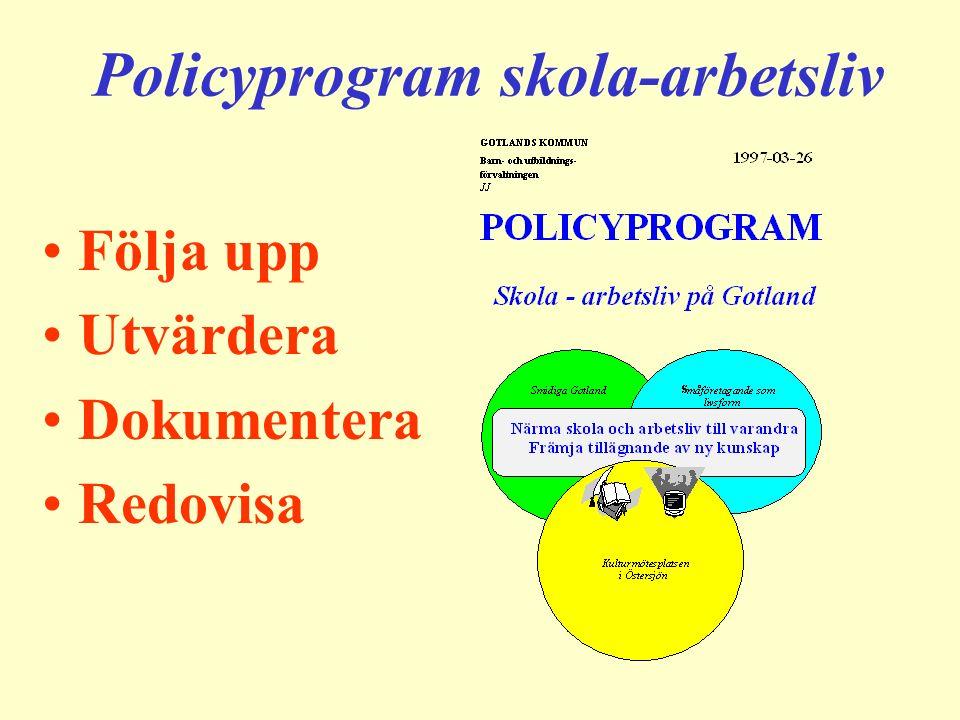 Policyprogram skola-arbetsliv Följa upp Utvärdera Dokumentera Redovisa
